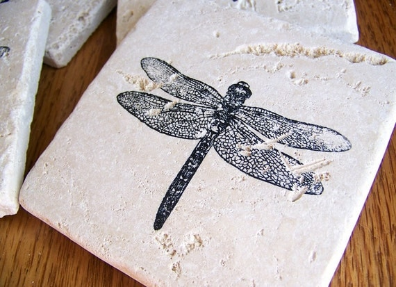 coasters, natural stone, tumbled tile, - dragonflies,  set of 4 -