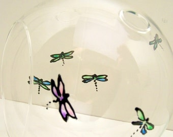 Terrarium Large Hand painted Glass DRAGONFLY L
