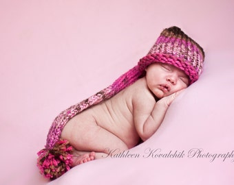 Baby Hat - Knit infant elf hat pink and brown Prop