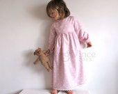 Nightgown childs vintage traditional night stars white star pink dress girl baby toddler childs nightie childrens sleepwear sleep