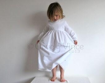 SALE - Nightie organic white 2-3yrs short sleeve angel girls cotton old fashioned toddlers dress  cotton nightdress childrens sleepwear