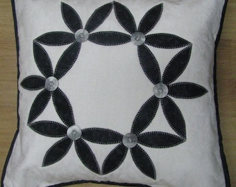 Quilted White and Black Quilted Cushion Cover