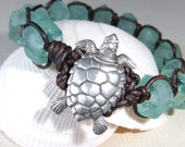 "Green Turtle Bracelet Seafoam Recycled Glass ""Hua Bay Honu"" Woven Leather Boho Surfer Style Macrame ""Betty Bracelet"""