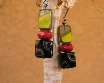 Christmas in July sale Tomato red, onyx black and corn yellow earrings