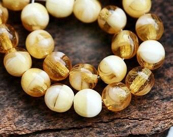 Amber Yellow beads mix, czech glass, honey yellow, beige round spacers, druk - 6mm - 30Pc - 2656