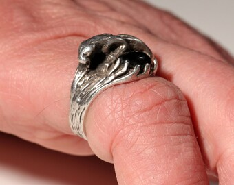 Vintage 80s Ring Sterling Ring Panther Ring European Jewelry Stamped 925 SIZE 5.20 US