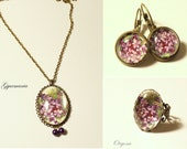 Gift under USD 30 - Lilac jewelry set, necklace, ring and earring - antique looking, vintage style, with glass cabochon