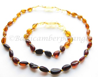 Baltic Amber Baby Teething Necklace and Anklet/Bracelet, Rainbow Color Olive Form Beads