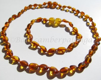 Set Of Baltic Amber Baby Teething Necklace and Anklet/Bracelet Olive Form Cognac Color Beads