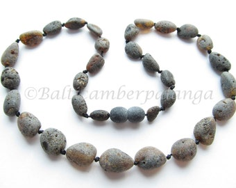 Baltic Amber Necklace, Raw Unpolished Black Color, For Adults