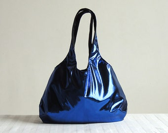 Metallic Blue Hobo Tote Bag - Spring Fashion