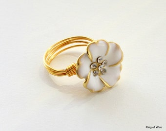 White Flower Button Ring, Flower Button Ring, White Button Ring, Gold Wire Ring, Wire Wrapped Ring, Enamel Flower Ring