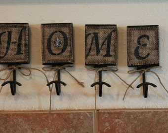 Home Burlap Hooks..Wall Decor...Home Decor....Burlap Covered Hangers...Housewarming Gift.