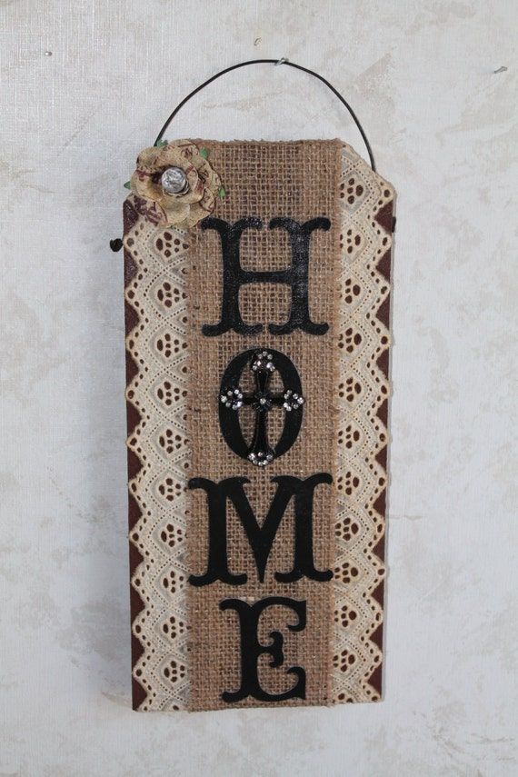 Burlap Lace And Bling Wall Decor Home Wall Hanging Home