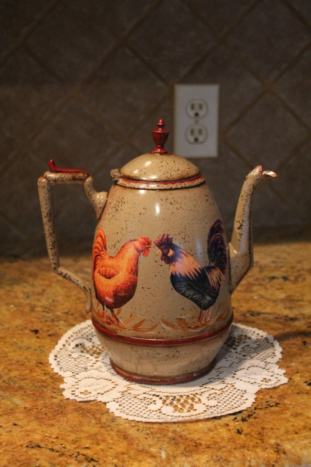 Rooster Tea Pot Kitchen Decor Country By Craftsbyjoyice