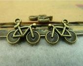 25 pcs 15x14mm Antique Bronze Vintage Brass Mini Bike Bicycle Bikes Double Sided Charms Pendants fc95483