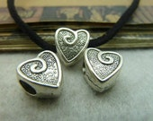 20 pcs 12x11x7mm Antique silver 3D love hearts beads Pendants with 4.5mm hole fc99315