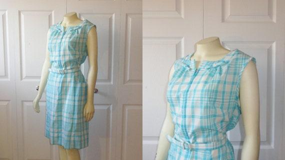 Vintage Dress Rockabilly 50s 60s Glenbrook Penn- Prest Aqua & White Plaid Metal Zipper 18 1/2 P Modern Large to Extra Large