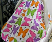 Cool 100% Cotton Baby Car Seat Canopy Cover Butterflies (fitted), FREE MONOGRAMMING