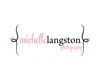 Custom Logo and Watermark Premade Logo Design for Photographers and Small Crafty Boutiques Pink and Black with Brackets