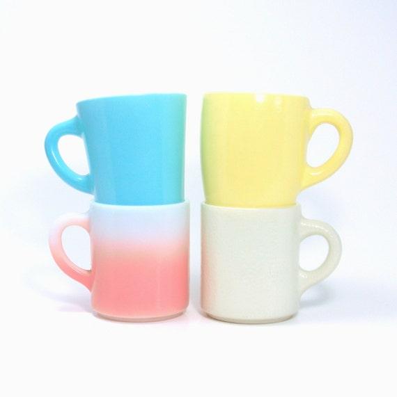 Pastel Milkglass Mugs, Vintage 1950s Platonite Coffee Cups