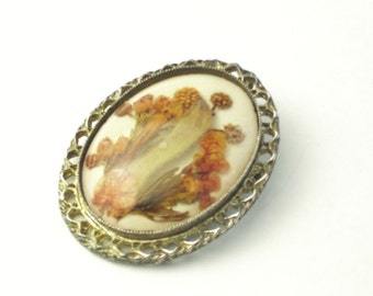 Brooch Dome Fall Flowers Under Glass Autumn Color Vintage 1960's Mid Century Costume Jewelry Pin Pendant Necklace Gift For Her on Etsy