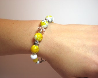 Yellow Jade Blossom - Interchangeable Beaded Watch Band