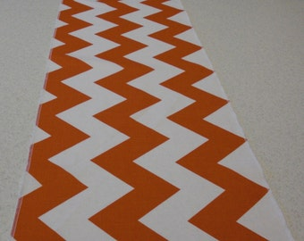 Tangerine Orange Eco Friendly Wide Chevron Table Runner