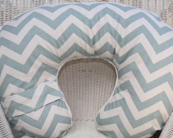 Nursing Pillow Cover - Village Blue Chevron with Ivory Minky Boppy Cover - Western, Modern, Blue, Chevron