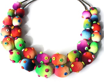 Polymer Clay Necklace Stomas Double Strand