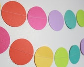 Rainbow Birthday Party Decorations - paper garland 5 foot long, rainbow party, bright, colorful