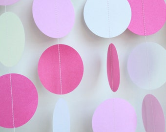 Paper Garland Shower Decor- Baby Shower Decoration, baby girl, pink and white decor, it's a girl shower decoration 5ft long