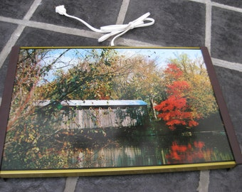 Vintage Fall Covered Bridge Warming Tray