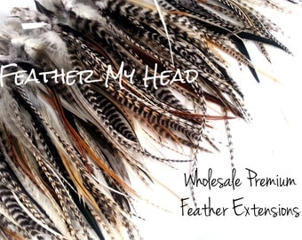 50 Pc. Wide Feather Hair Extensions With Fluff: Natural Grizzly Feathers 5-7 Inches Long