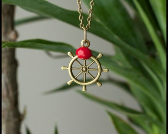 Nautical Ship Wheel Necklace - Antique Brass  - with red faceted bead