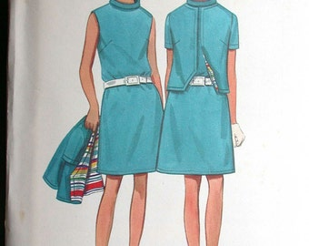 "Butterick Dress Pattern No 4819 UNCUT Vintage 1960s Size 16 Bust 38"" Sleeveless Dress Back Zipper Cardigan Style Short Jacket Short Sleeves"