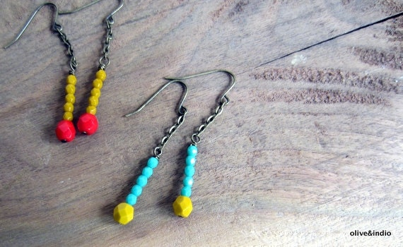 Bright Dangle Matchstick Earrings - Mustard and Turquoise