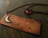 Crescent Moon and Stars Pendant - Copper and Sterling Silver Necklace
