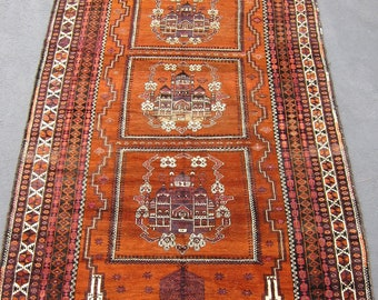 Antique Vintage Afghan Rug Circa 1920 with Architectural Elements, Unique Oriental Rug