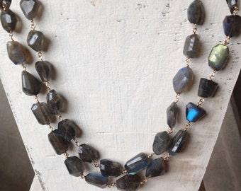 Labradorite nugget necklace
