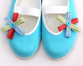 colorful dots / ballet flats turquoise blue red yellow shoes spring bloom summer bow flower polka dot  woman poletsy fashion gift happy - CzarnaBiedronka