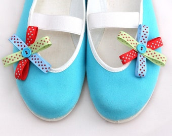 colorful dots / ballet flats turquoise blue red yellow shoes spring bloom summer bow flower polka dot  woman poletsy fashion gift happy