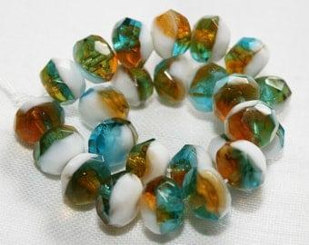 8 x 6mm . Czech Pressed Glass .  Gold / Aqua / White . 10 beads