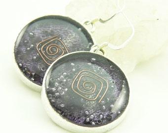 Orgone Energy Earrings - Positive Energy Generator - Dangle Earrings - Purple Amethyst Gemstone - Artisan Jewelry