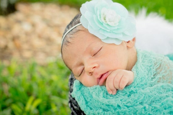 Newborn Teal Cheesecloth Wrap...Baby Wrap...Baby Bows...Photography Prop...Newborn Portrait Prop