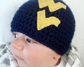 West Virginia University, Mountaineers, WVU, Navy and Old Gold, Football, (Newborn - 4T) Great for Photo Prop