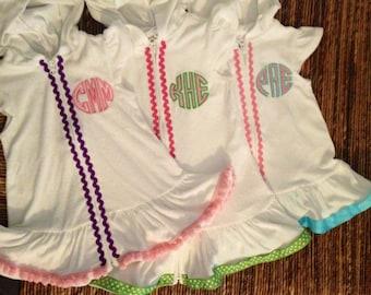 Girls short sleeve white terry cloth beach, sun, pool cover-up