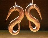 Small 00 Gauge Zebra Wood Earrings