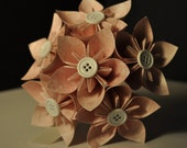 Light Pink Patterned with Buttons Origami Paper Flower Bouquet - Wedding, Bridal, Decoration, Centerpiece, Valentines, Set of 6