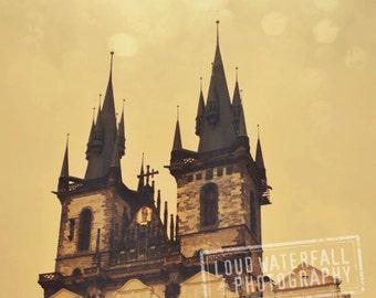 Hradcany, Castle Spires, Prague Medieval Architecture, Home Wall Art Decor, 8x8 10x10 12x12 20x20 Fine Art Photograph